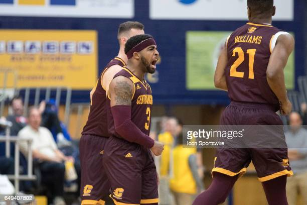 Central Michigan Chippewas G Marcus Keene reacts after making a 3point shot during the first half of the MAC men's basketball tournament game between...