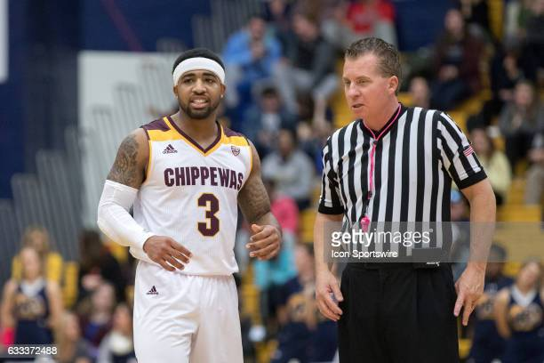 Central Michigan Chippewas G Marcus Keene talks to an official during the first half of the men's college basketball game between the Central...