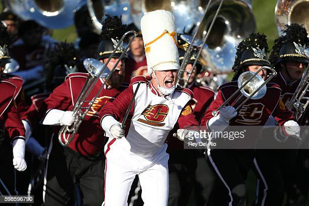 Central Michigan Chippewas marching band takes the field prior to the start of the game against the Presbyterian Blue Hose at Kelly/Shorts Stadium on...