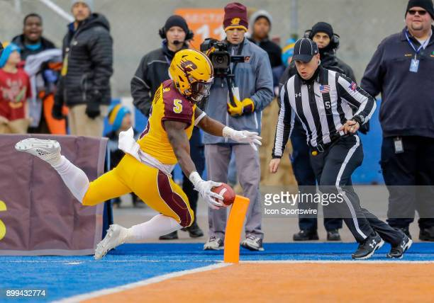 Central Michigan Chippewas running back Jonathan Ward hits the pylon with the ball for a 74 yard touchdown reception in the first quarter of the...