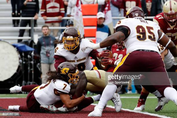 Central Michigan defensive back Amari Coleman catches Boston College running back Jon Hilliman for a safety during a game between the Boston College...