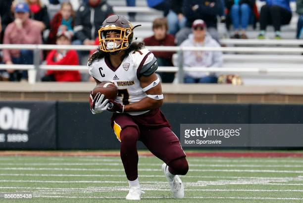 Central Michigan defensive back Amari Coleman fields a punt during a game between the Boston College Eagles and the Central Michigan Chippewas on...