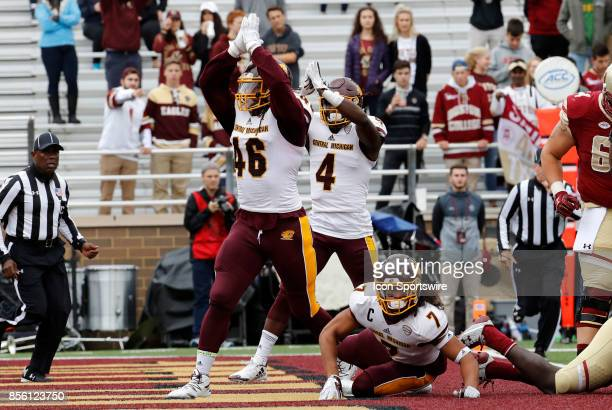 Central Michigan defensive lineman Nathan BrissonFast and Central Michigan defensive back Darwyn Kelly signal safety after the tackle from Central...