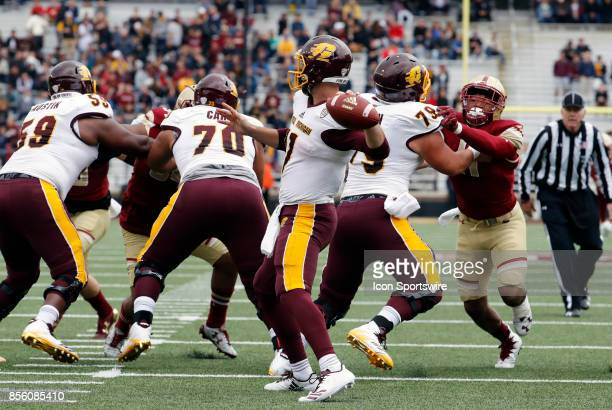 Central Michigan quarterback Shane Morris back to pass during a game between the Boston College Eagles and the Central Michigan Chippewas on...