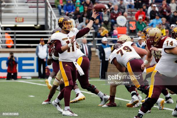 Central Michigan quarterback Shane Morris passes the ball during a game between the Boston College Eagles and the Central Michigan Chippewas on...