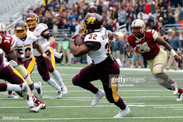 Central Michigan running back Berkley Edwards carries the ball during a game between the Boston College Eagles and the Central Michigan Chippewas on...