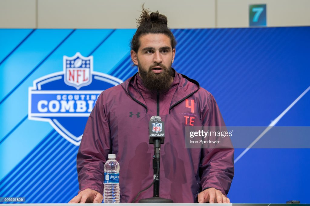 Central Michigan tight end Tyler Conklin answers questions from the media during the NFL Scouting Combine on March 2, 2018 at the Indiana Convention Center in Indianapolis, IN.