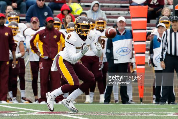 Central Michigan wide receiver Damon Terry eyes a reception during a game between the Boston College Eagles and the Central Michigan Chippewas on...