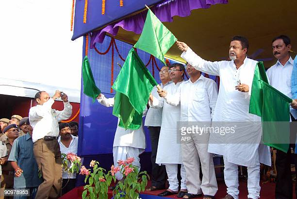 Central Minister of State for Shipping Mukul Roy flags off the new AgartalaDharmanagar passenger train at Agartala railway station on September 20...