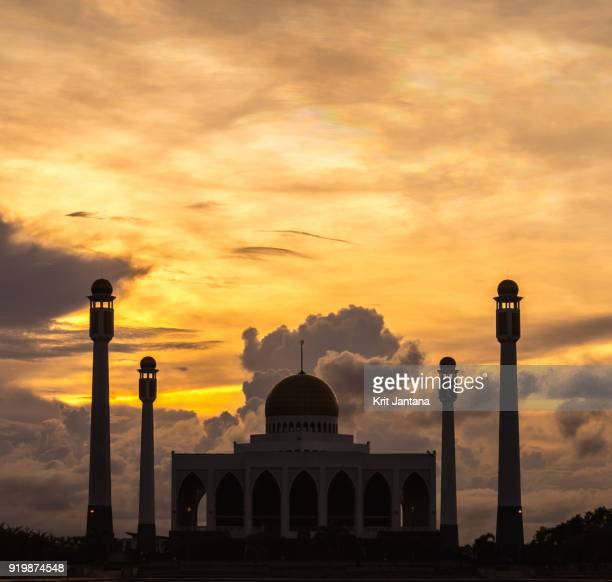 Central Mosque of Songkhla, Thailand in silhouette