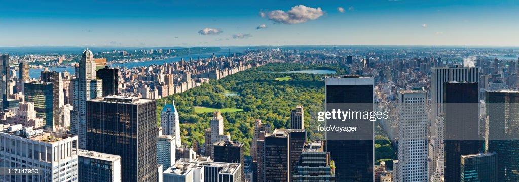 Central Park aerial panorama Manhattan skyscrapers Hudson River New York : Stock Photo