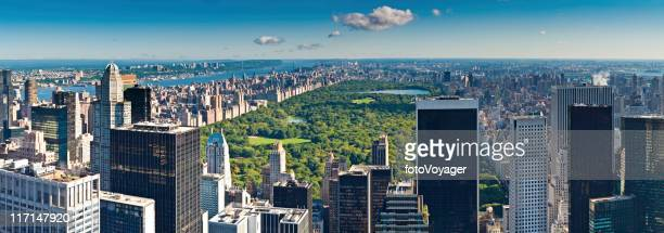 central park aerial panorama manhattan skyscrapers hudson river new york - central park stock pictures, royalty-free photos & images