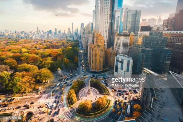 central park and 59th street high angle view, new york city, usa - central park manhattan stock-fotos und bilder