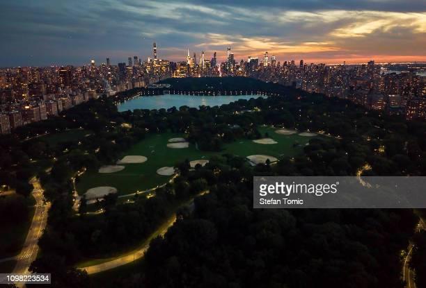 Central Park und Manhattan bei Nacht
