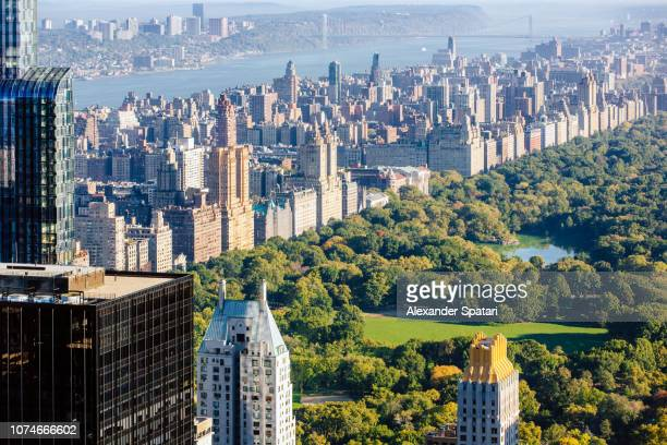 Central Park and Upper West Side aerial view, New York, USA