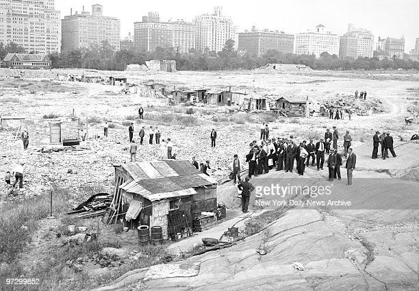 Central Park Hooverville with Central Park West in the Background