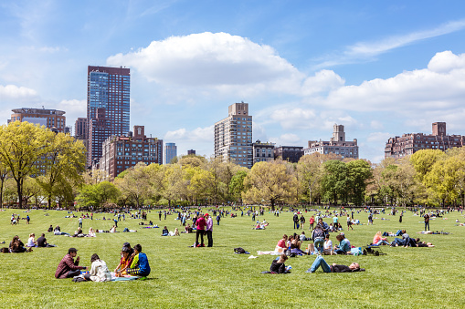 Central Park in spring with people, New York, USA - gettyimageskorea