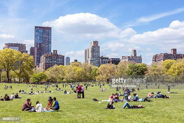 central park in spring with people, new york, usa - park stock-fotos und bilder