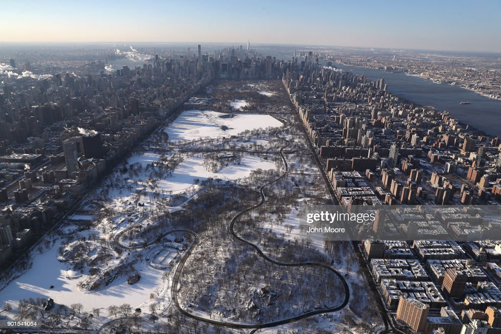 Central Park lies under a blanket of snow on January 5, 2018 in New York City. Under frigid temperatures, New York City dug out from the 'Bomb Cyclone.'