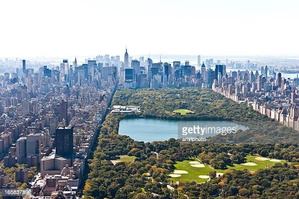 central park manhattan aerial view - central park stock pictures, royalty-free photos & images