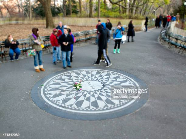 central park, new york city - john lennons memorial stock photos and pictures