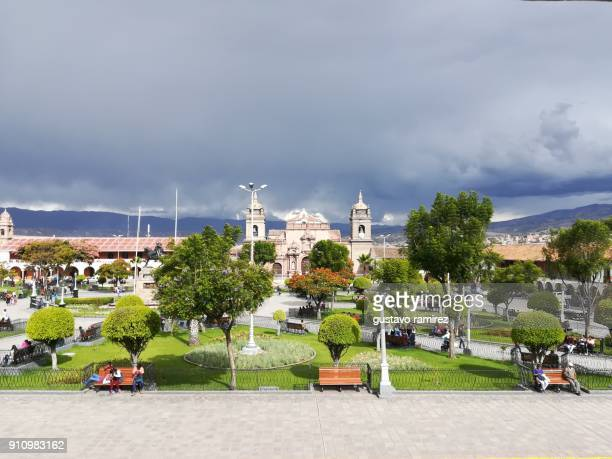 Central park of ayacucho city in peru