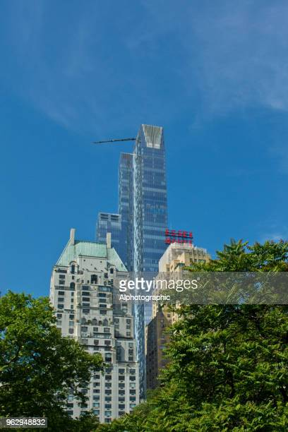 central park skyscrapers - marriott marquis new york stock photos and pictures