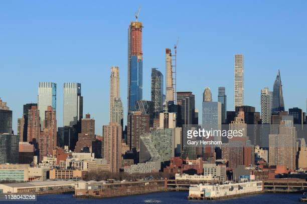 Central Park Tower rises above the Time Warner Center, 220 Central Park South, One 57, 111 West 57th Street, 432 Park Avenue and the MOMA Tower in...