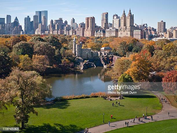 central park west skyline in autumn - central park stock pictures, royalty-free photos & images