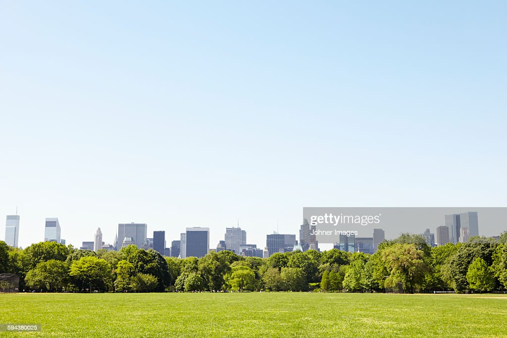 Central Park with Manhattan skyline, New York City, USA : Stock Photo