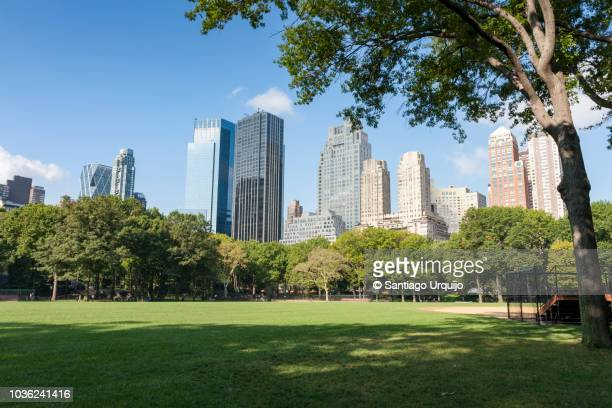 central park with manhattan skyline - park stock pictures, royalty-free photos & images
