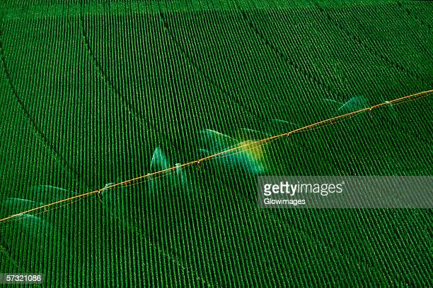 central pivot irrigation system, shot from above, nebraska - irrigation equipment stock pictures, royalty-free photos & images