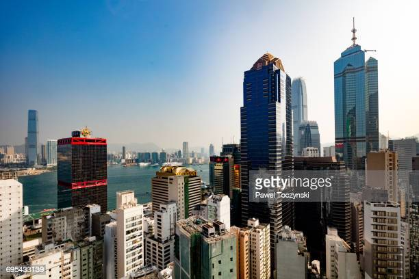 central plaza and the center skyscrapers, hk sar - 中環中心 ストックフォトと画像