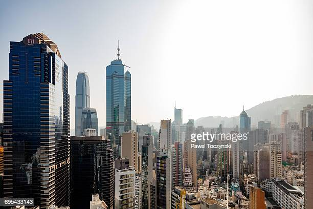central plaza and the center skyscrapers, hk sar - central district hong kong stock pictures, royalty-free photos & images