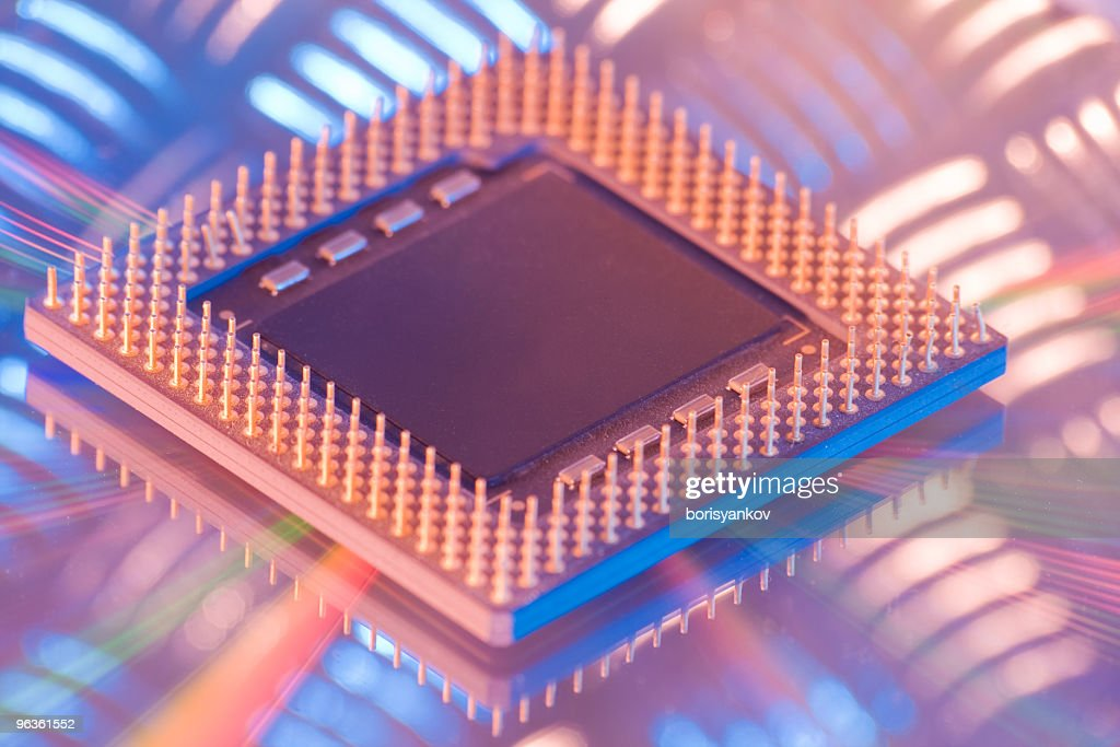 CPU central processing unit close-up on metal surface : Stock Photo