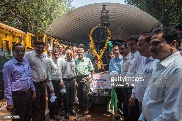 Central Railway General Manager DK Sharma and DRM/BB SK Jain attends the Ceremonial run of Matheran toy train with Steam locomotive from Aman Lodge...