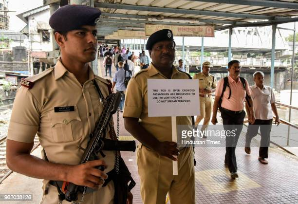 Central railways operating commercial and protecting force organise mock drills at Currey Road Railway Station on May 23 2018 in Mumbai India The...