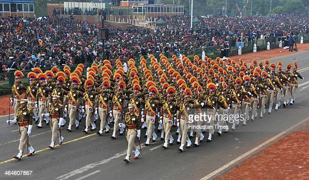 Central Reserve Police Force jawans passing through the saluting base during the full dress rehearsal for Republic Day Parade at Rajpath on January...