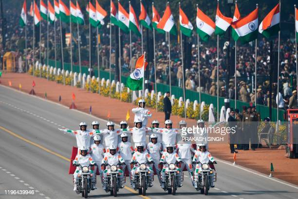 Central Reserve Police Force women motorcycle team members perform during the Republic Day parade in New Delhi on January 26 2020 Huge crowds...