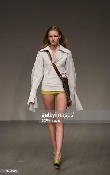 Central Saint Martins MA Runway LFW February 2018 A model walk the runway at the Central Saint Martins MA show during London Fashion Week February...
