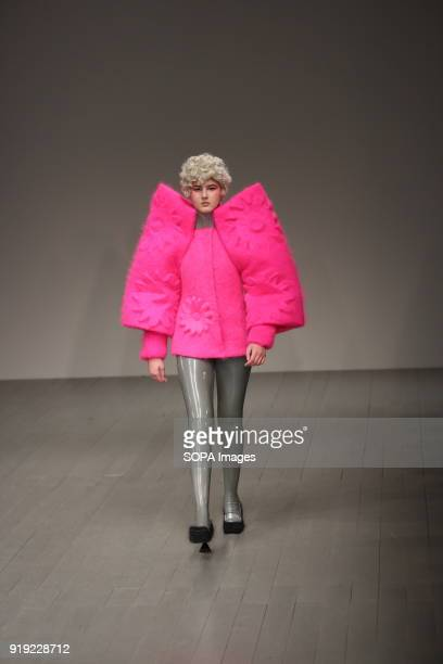 Central Saint Martins MA Runway LFW February 2018 A model walk the runway at the Central Saint Martins MA show during London Fashion Week February...