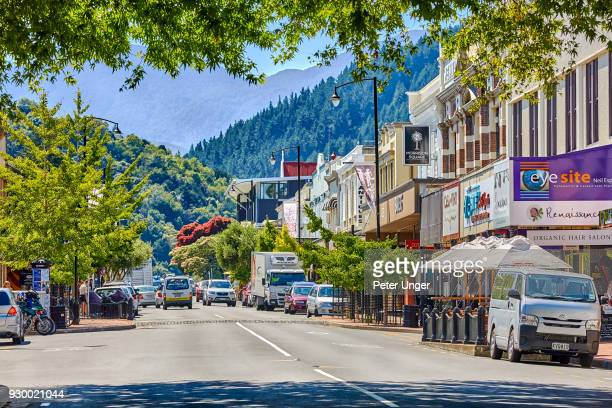 central shopping area of the city of nelson, nelson region, south island, new zealand - nelson city new zealand stock pictures, royalty-free photos & images