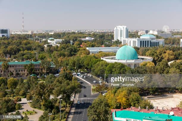 central tashkent from the famous soviet-built hotel uzbekistan in central tashkent, uzbekistan - dictator stock pictures, royalty-free photos & images