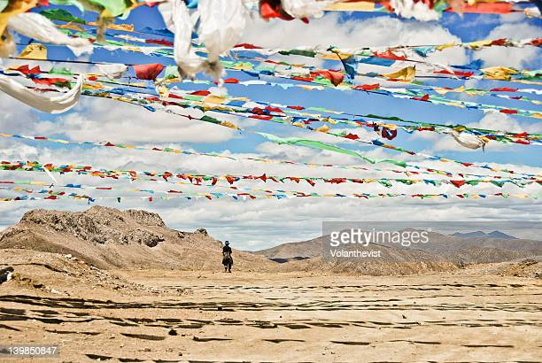 Central Tibet views with flags