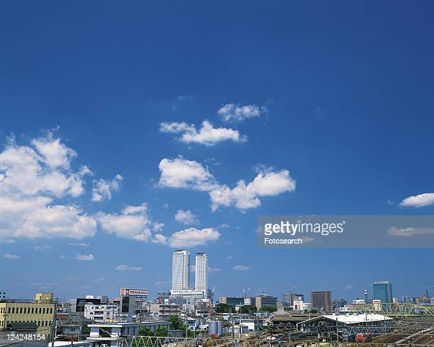 jr central towers, nagoya city, japan, high angle view, pan focus - nagoya stock pictures, royalty-free photos & images