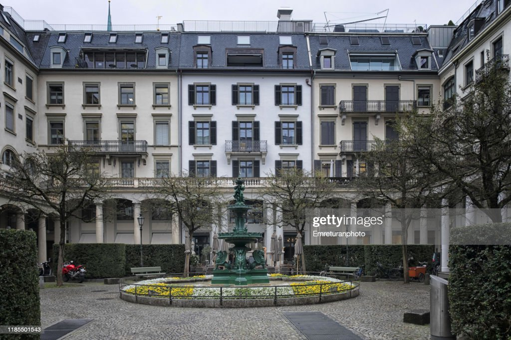 Centralhof monument in downtown Zurich on an overcast day. : Stock Photo