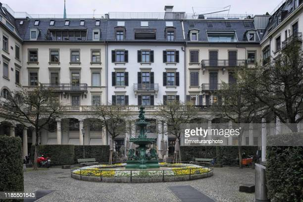 centralhof monument in downtown zurich on an overcast day. - emreturanphoto stock pictures, royalty-free photos & images