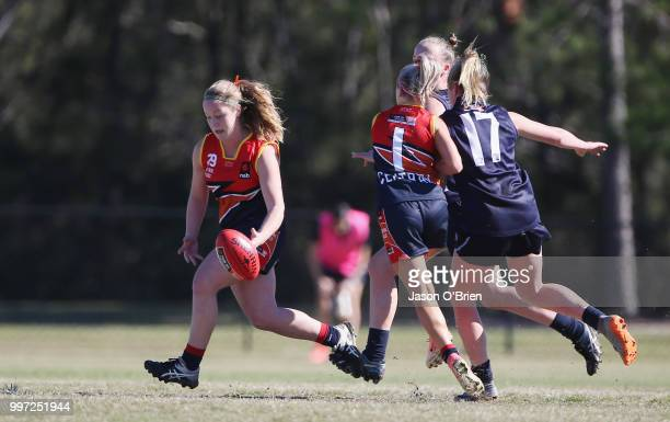 Central's Abbie Ballard in action during the AFLW U18 Championships match between Vic Metro v Central Allies at Bond University on July 13 2018 in...