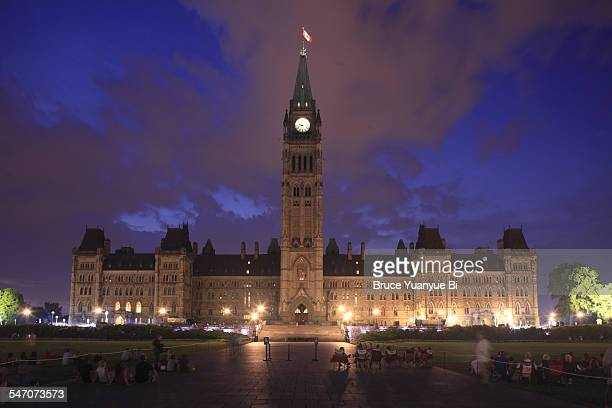 centre block of parliamentary complex - clock tower stock pictures, royalty-free photos & images
