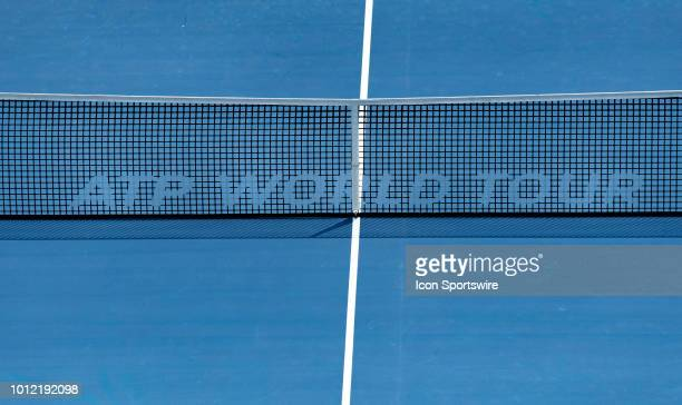 Centre Court net with ATP World Tour Logo as seen in a break of action during the match between Jack Sock of the USA and Daniil Medvedev of Russia at...